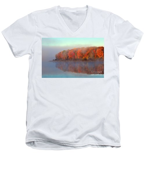Stoneledge Lake Pristine Beauty In The Fog Men's V-Neck T-Shirt