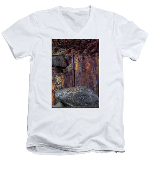 Men's V-Neck T-Shirt featuring the photograph Rusted Stones 2 by Steve Siri