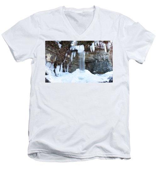 Stony Kill Falls In February #1 Men's V-Neck T-Shirt by Jeff Severson