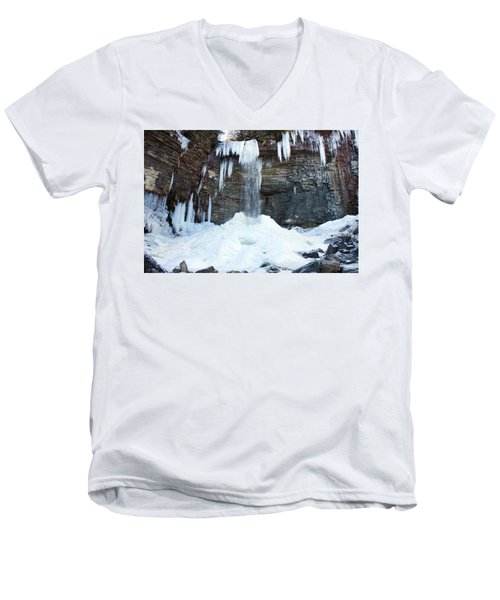 Men's V-Neck T-Shirt featuring the photograph Stony Kill Falls In February #2 by Jeff Severson
