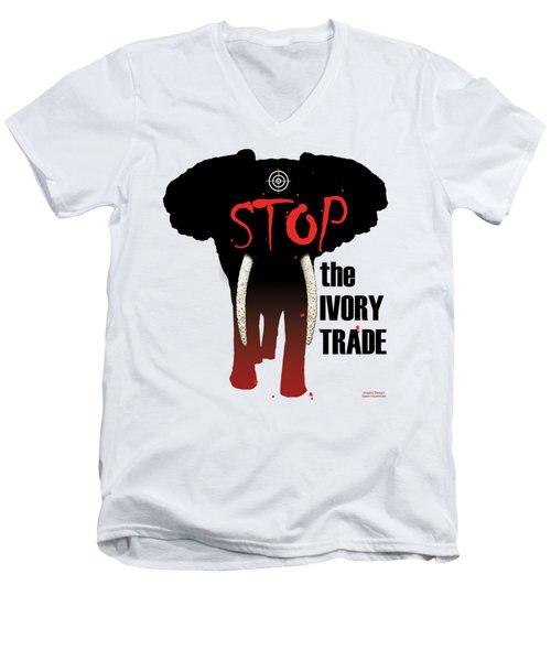 Stop The Ivory Trade Men's V-Neck T-Shirt by Galen Hazelhofer