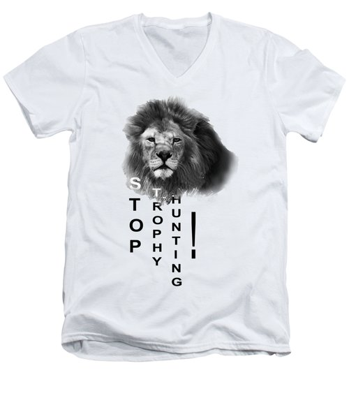 Men's V-Neck T-Shirt featuring the photograph Stop Trophy Hunting 02 by Jivko Nakev