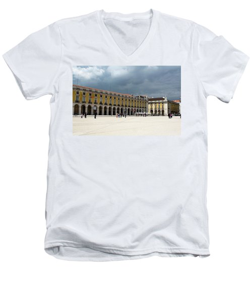 Men's V-Neck T-Shirt featuring the photograph Storm Brews Over Commerce Square by Lorraine Devon Wilke