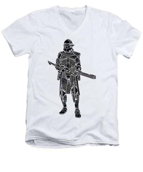 Stormtrooper Samurai - Star Wars Art - Black Men's V-Neck T-Shirt