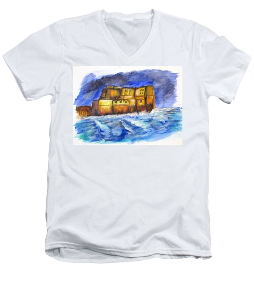 Stormy Castle Dell'ovo, Napoli Men's V-Neck T-Shirt by Clyde J Kell
