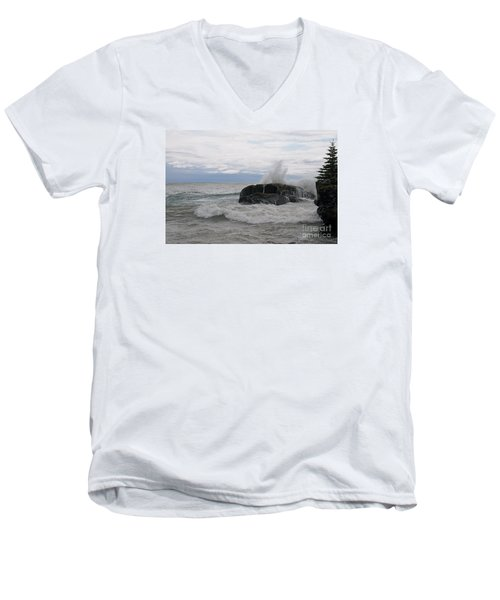 Men's V-Neck T-Shirt featuring the photograph Stormy Morning On Superior by Sandra Updyke