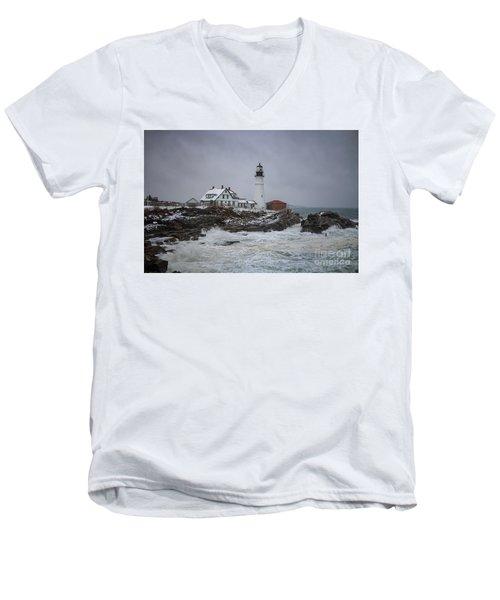 Stormy Portland Head Light Men's V-Neck T-Shirt