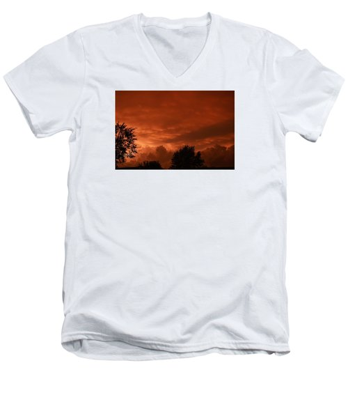 Men's V-Neck T-Shirt featuring the photograph Stormy Sunset by Nikki McInnes