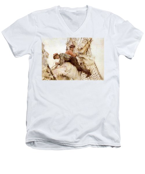 Men's V-Neck T-Shirt featuring the painting Stowing The Headsails  by Henry Scott Tuke