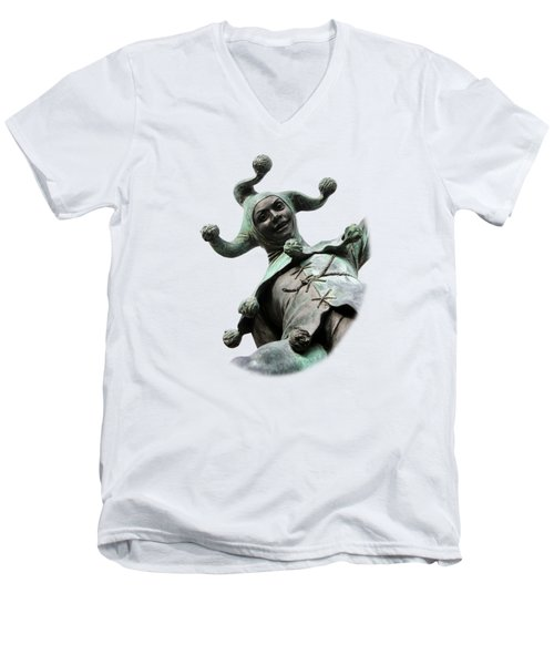 Stratford's Jester Statue On Transparent Background Men's V-Neck T-Shirt by Terri Waters