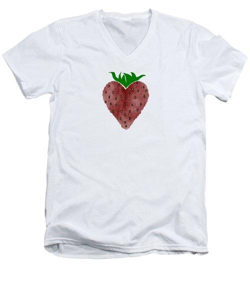 Strawberries Men's V-Neck T-Shirt by Kathleen Sartoris
