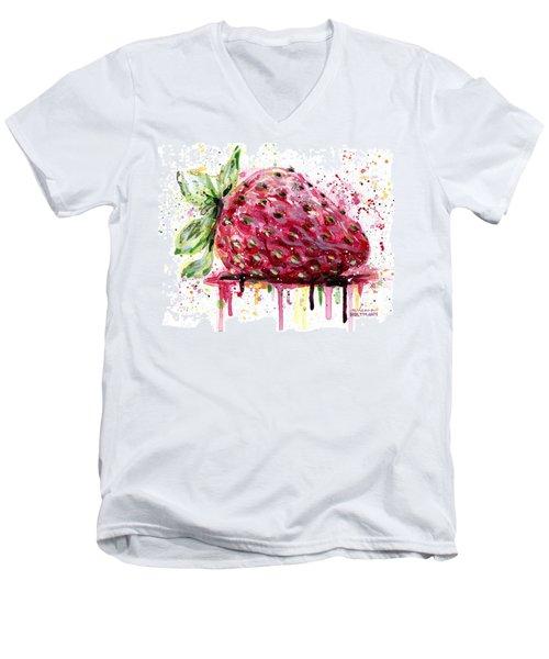 Strawberry 2 Men's V-Neck T-Shirt by Arleana Holtzmann