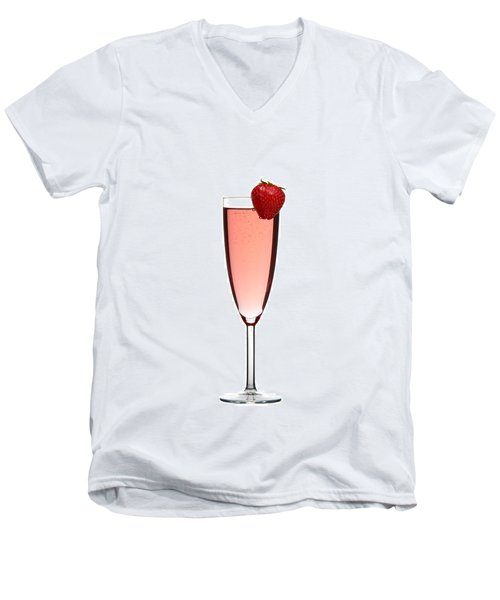 Strawberry Champagne Men's V-Neck T-Shirt by Gert Lavsen
