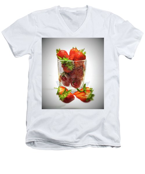 Strawberry Dessert Men's V-Neck T-Shirt by David French