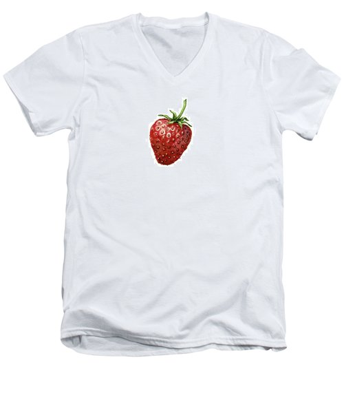 Men's V-Neck T-Shirt featuring the painting Strawberry by Heidi Kriel