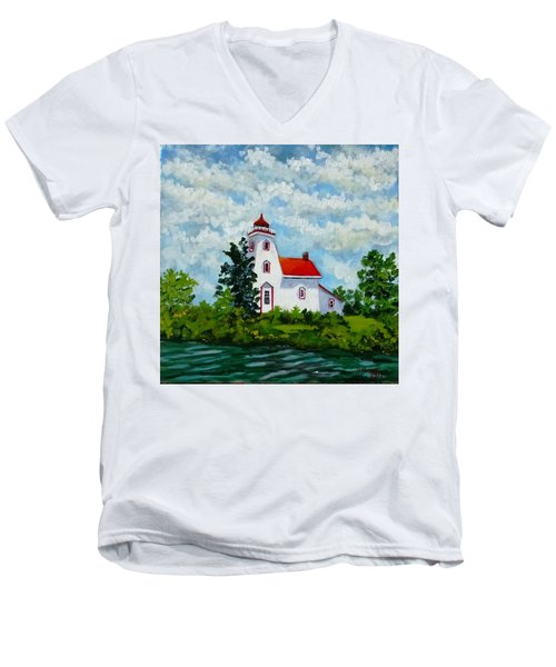 Strawberry Island Lighthouse, Manitoulin Island Men's V-Neck T-Shirt
