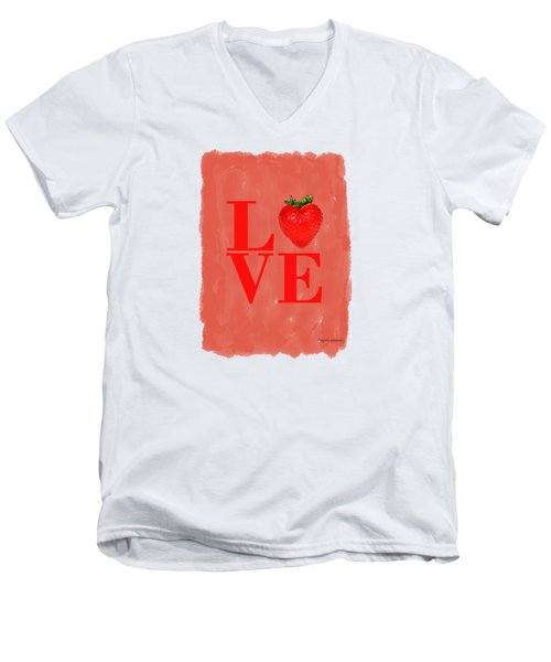 Strawberry Men's V-Neck T-Shirt by Mark Rogan