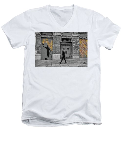 Street Art In Malaga Spain Men's V-Neck T-Shirt by Henry Kowalski