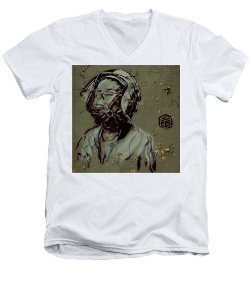 Men's V-Neck T-Shirt featuring the painting Street Art by Sheila Mcdonald