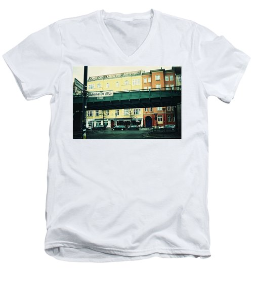Street Cross With Elevated Railway Men's V-Neck T-Shirt