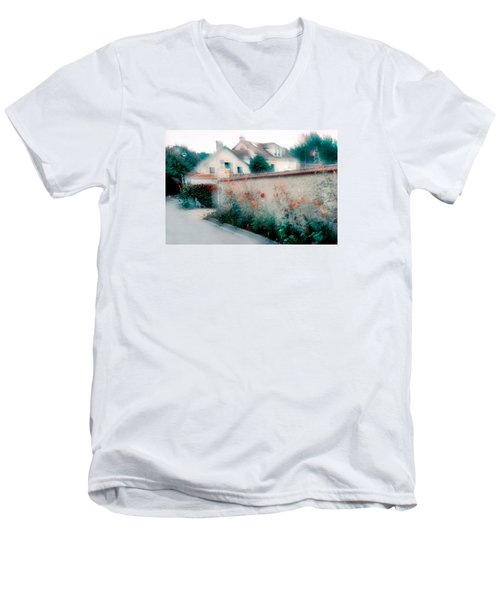 Men's V-Neck T-Shirt featuring the photograph Street In Giverny, France by Dubi Roman