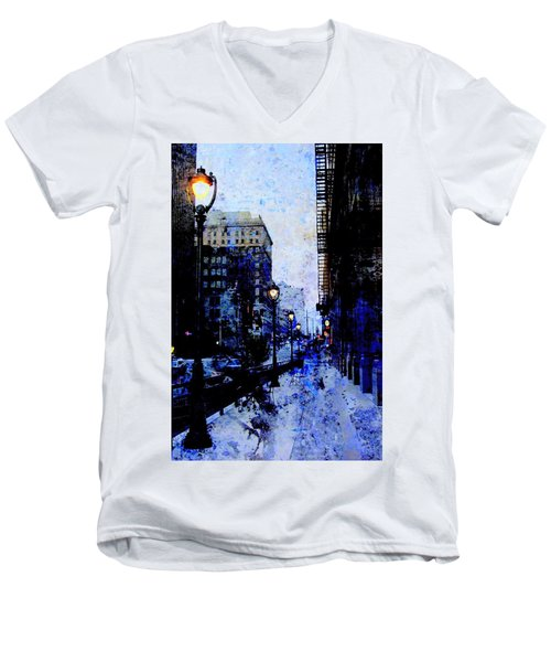 Street Lamps Sidewalk Abstract Men's V-Neck T-Shirt