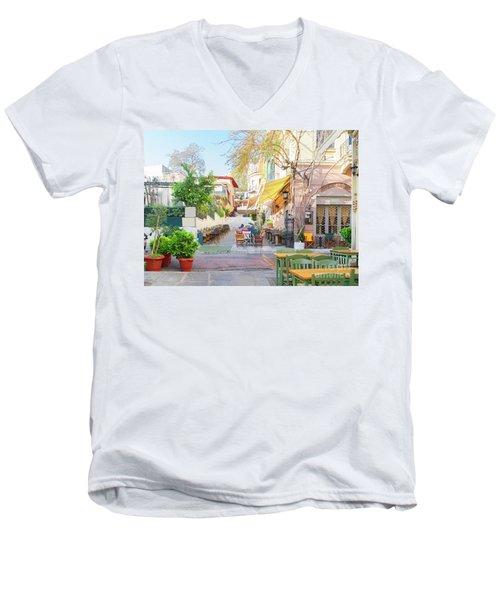 Street Of Athens, Greece Men's V-Neck T-Shirt