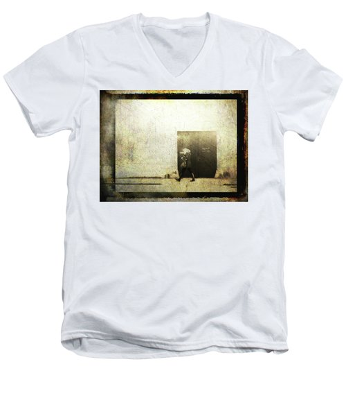 Street Photography - Closed Door Men's V-Neck T-Shirt by Siegfried Ferlin