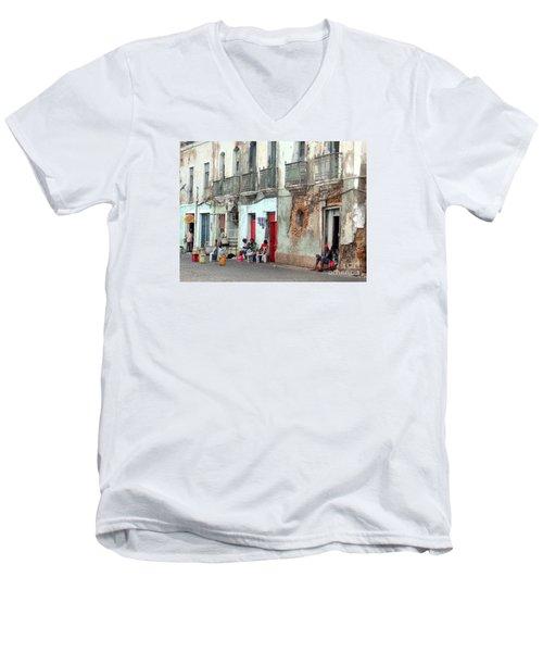 Street Scene Luanda, Angola Men's V-Neck T-Shirt by John Potts