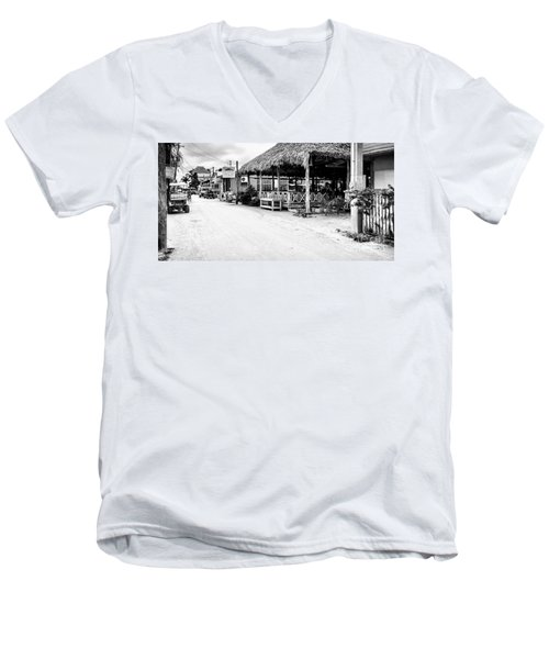 Men's V-Neck T-Shirt featuring the photograph Street Scene On Caye Caulker by Lawrence Burry