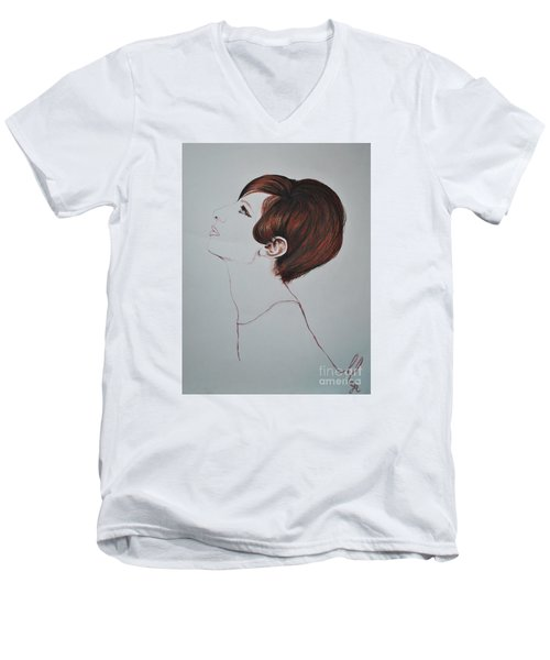 Barbra Streisand Men's V-Neck T-Shirt by Maja Sokolowska