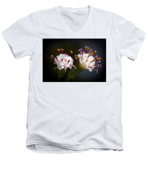 Men's V-Neck T-Shirt featuring the photograph String Of Pearl Succulent Flowers by Catherine Lau