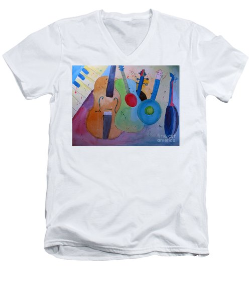 Men's V-Neck T-Shirt featuring the painting Strings by Sandy McIntire