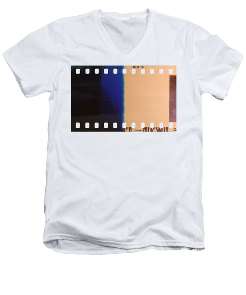 Men's V-Neck T-Shirt featuring the photograph Strip Of The Poorly Exposed And Developed Celluloid Film by Michal Boubin