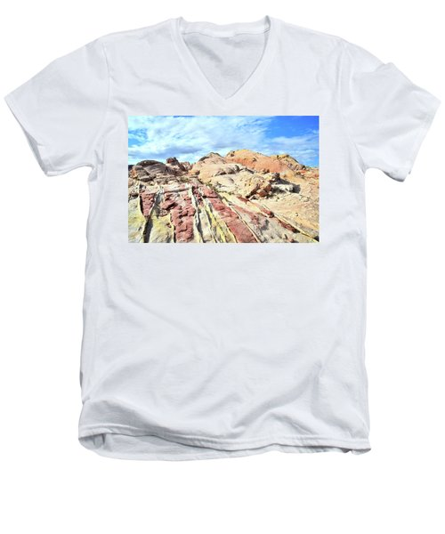 Stripes Of Valley Of Fire Men's V-Neck T-Shirt by Ray Mathis