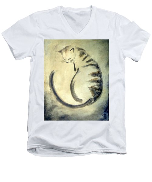 Stripey Cat 1  Men's V-Neck T-Shirt by Dina Dargo