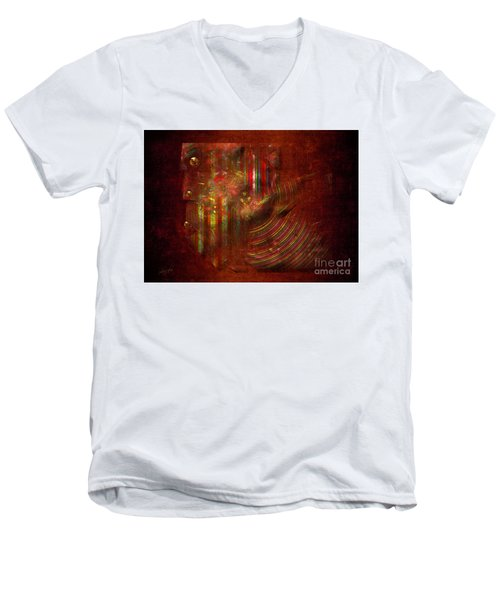 Men's V-Neck T-Shirt featuring the digital art Strips by Alexa Szlavics