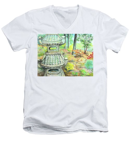 Strolling Through The Japanese Garden Men's V-Neck T-Shirt