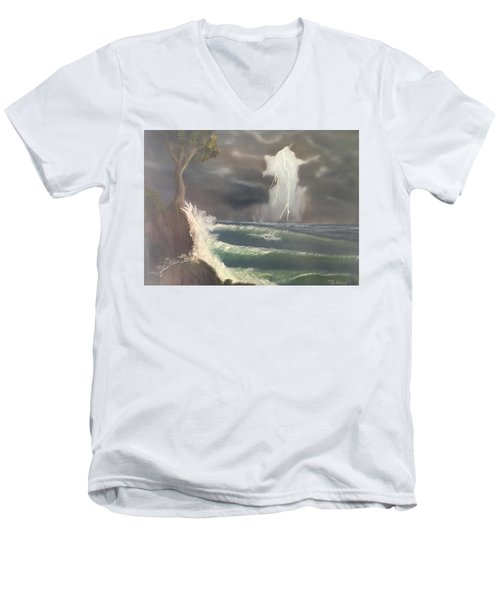 Strong Against The Storm Men's V-Neck T-Shirt by Thomas Janos