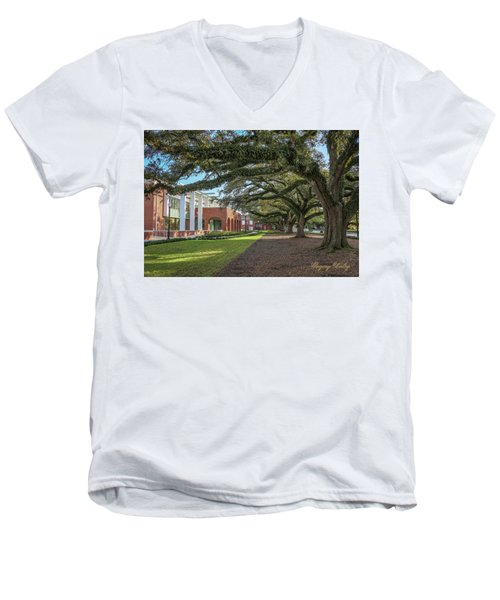 Men's V-Neck T-Shirt featuring the photograph Student Union Oaks by Gregory Daley  PPSA