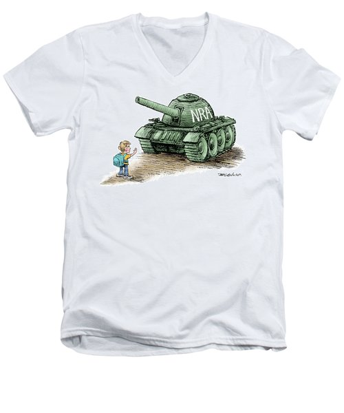 Men's V-Neck T-Shirt featuring the drawing Students Vs The Nra by Daryl Cagle