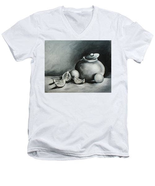 Study Of Lemons, Oranges And Covered Jug In Black And White Men's V-Neck T-Shirt