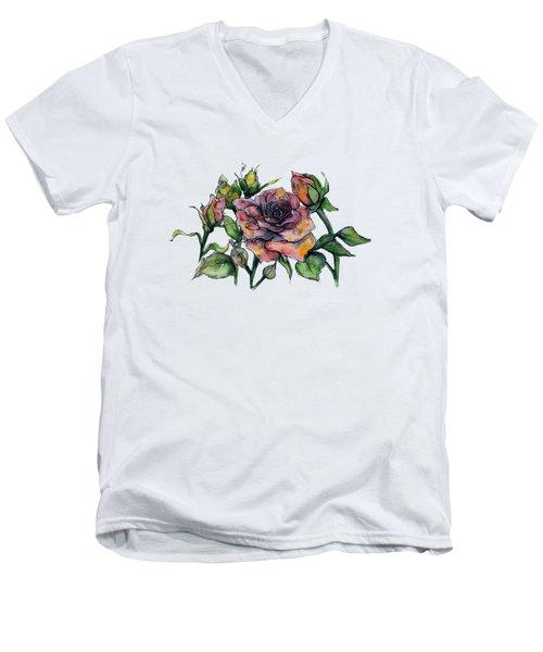 Stylized Roses Men's V-Neck T-Shirt