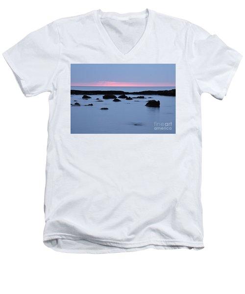 Men's V-Neck T-Shirt featuring the photograph Subtle Sunrise by Larry Ricker