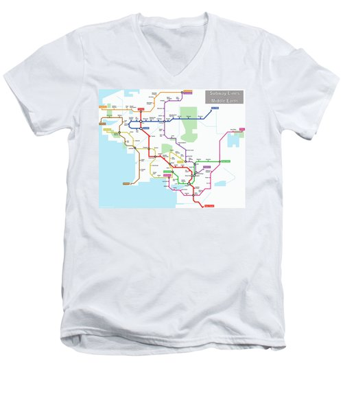 Subway Lines Of Middle Earth Men's V-Neck T-Shirt