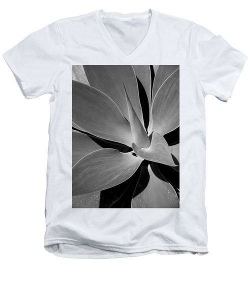 Men's V-Neck T-Shirt featuring the photograph Succulent In Black And White by Karen Nicholson