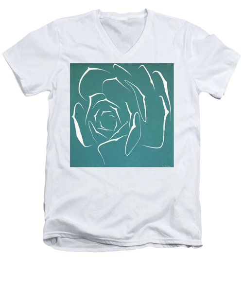 Men's V-Neck T-Shirt featuring the painting Succulent In Turquoise by Ben Gertsberg
