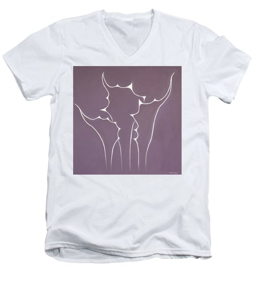 Men's V-Neck T-Shirt featuring the painting Succulent In Violet by Ben Gertsberg