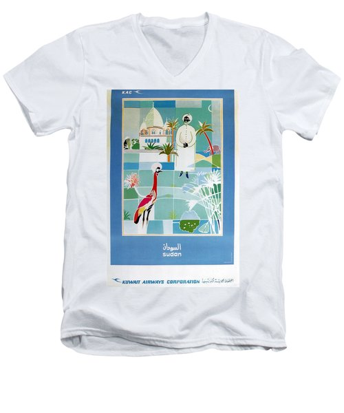 Sudan - Kuwait Airways Corporation - Kuwait - Retro Travel Poster - Vintage Poster Men's V-Neck T-Shirt