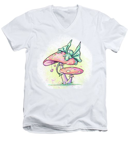 Sugar Puff The Dragon Men's V-Neck T-Shirt by Lizzy Love